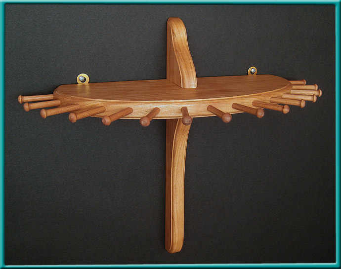 Cherry 9-Peg Large Single-Tier Necklace Holder Close-up